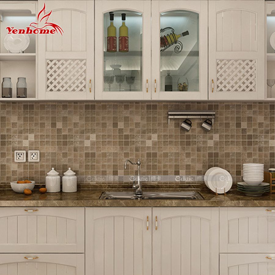 10M PVC Mosaic Wall Sticker Bathroom Waterproof Self Adhesive Wallpaper Kitchen  Countertop Stickers For Silver Gray