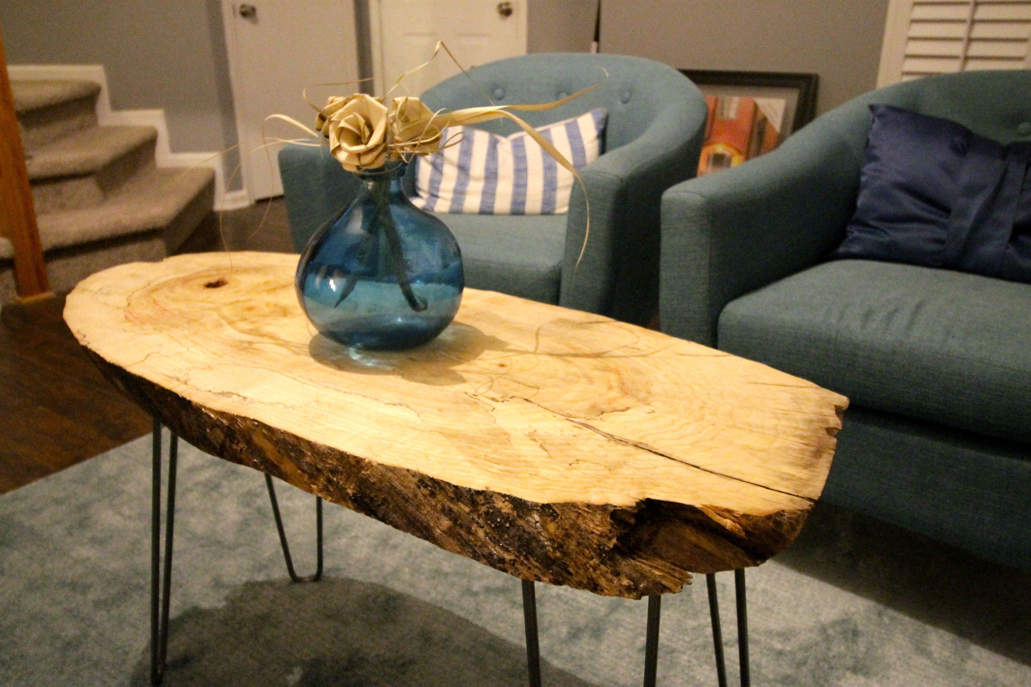 DIY Live Edge Wood Slab Coffee Table