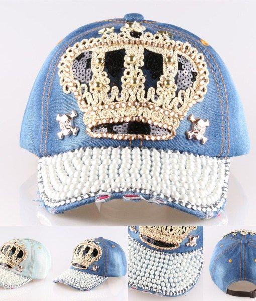 15 New High quality Crown Point drill pearl cowboy denim women baseball cap  men Hat rhinestone print Diamond Point Wholesale de3d05cafd8e