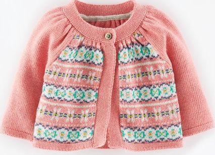 Mini Boden Pretty Fair Isle Cardigan Soft Pink Marl Mini Classic ...