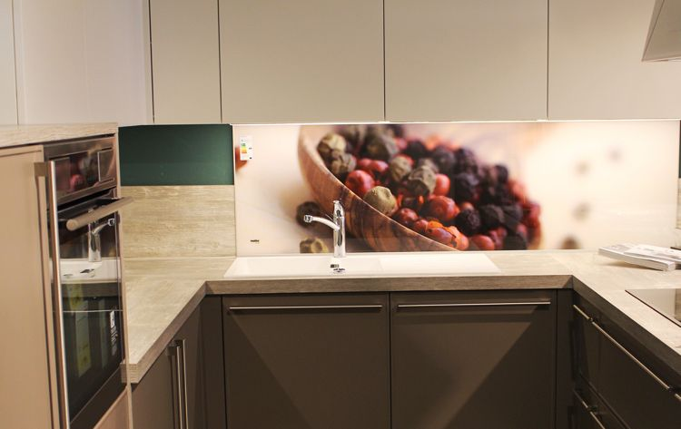 Kitchen Backsplash Wall Design With Glass Panel Glass Panels With Photo  Printing To Get A Backsplash Design For A Modern Kitchen Interior