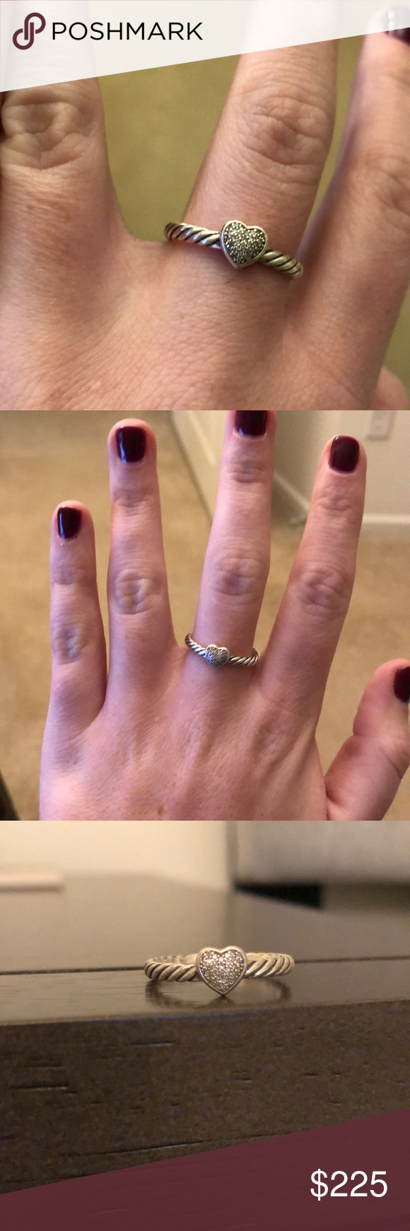 c0a6545aeb9853 David Yurman Petite Pave Heart Ring w/ Diamonds David Yurman ring David  Yurman Jewelry Rings