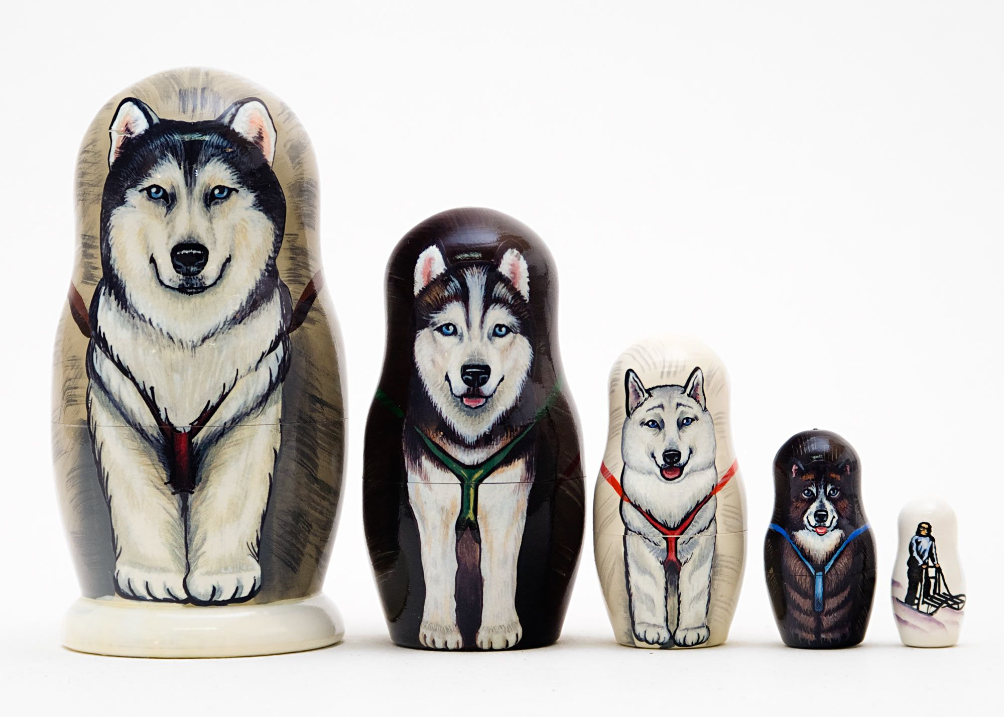 Matryoshka Dogs Different Breeds Russian Nesting Dolls Wooden Babushka 7 Pcs