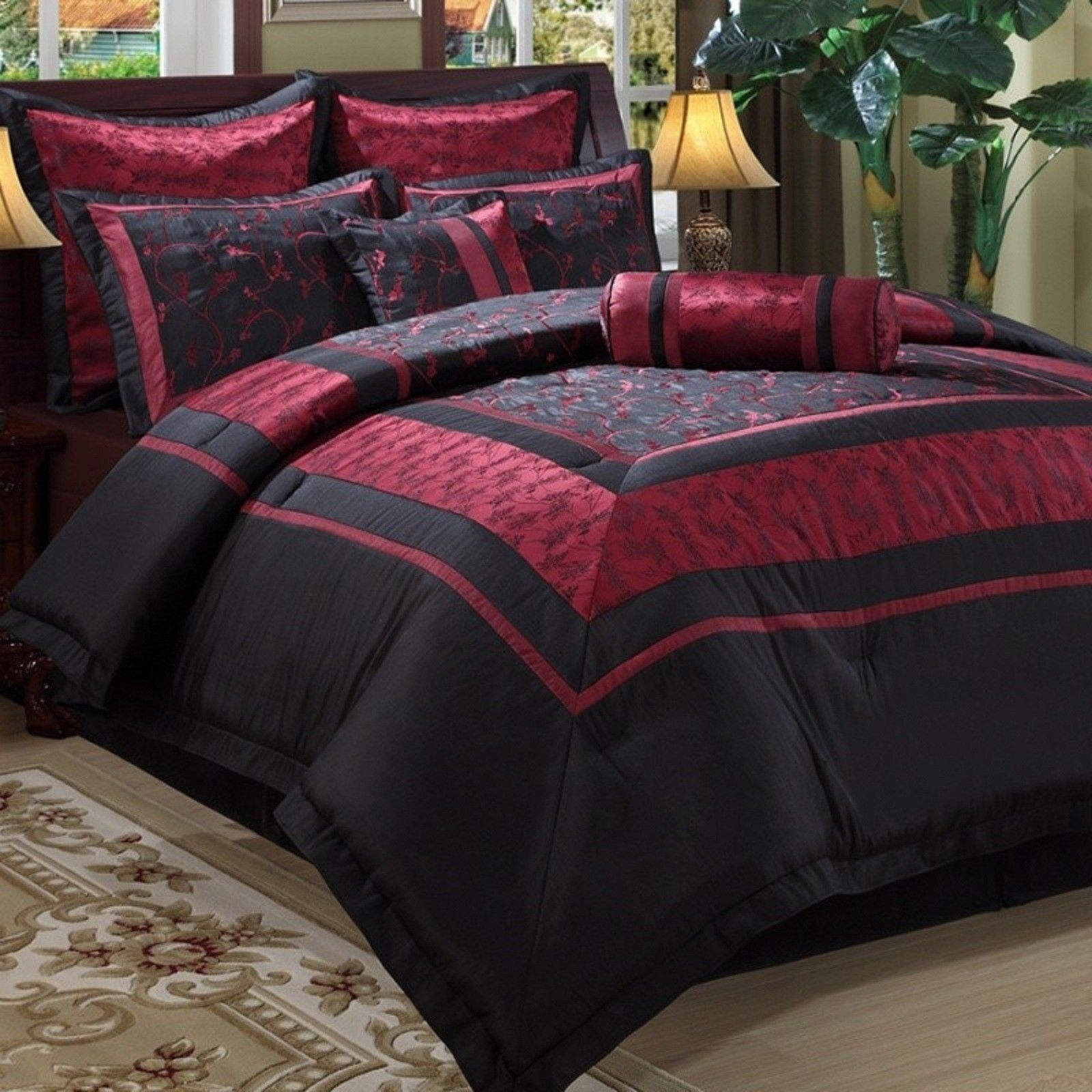 Black and red bed sheets - Central Park Kyoto Queen Comforter Set 8pc Oriental Asian Red Black Embroidered Ebay