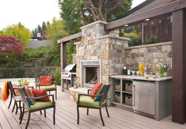 grillkamin bauen naturstein terrasse holz dielen modern praktisch gartendeko pinterest. Black Bedroom Furniture Sets. Home Design Ideas
