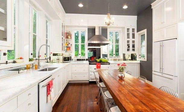 I love this kitchen--modern yet warm.