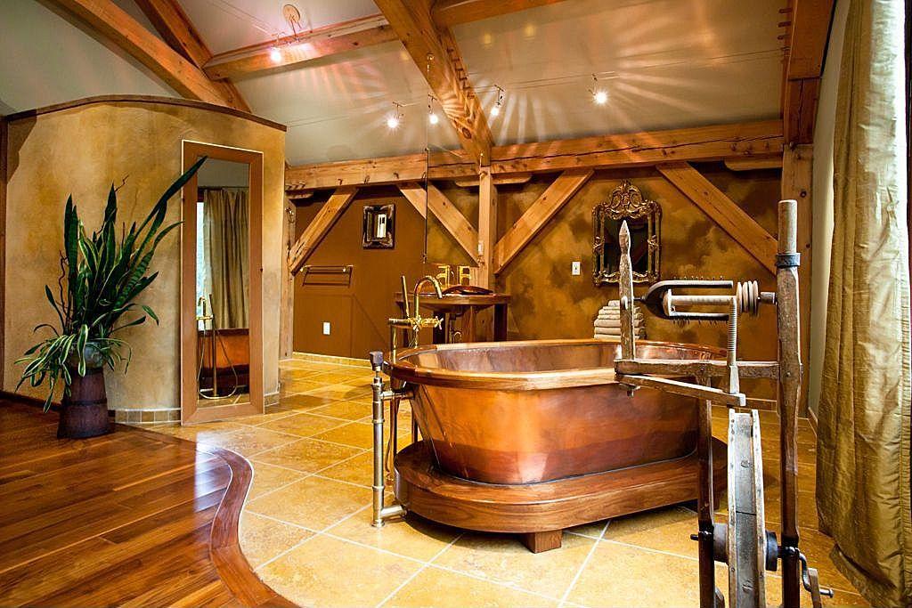 copper cool bathroom bathtub | Steampunk inspired bathroom looks like it came straight ...