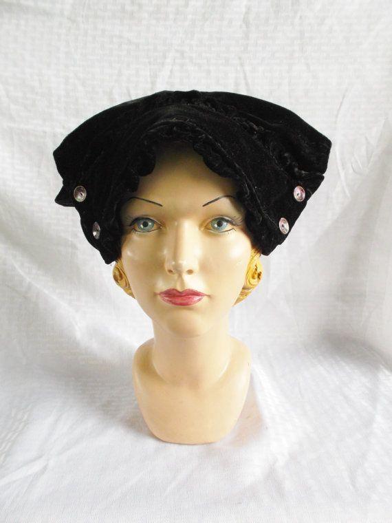 1910's 1920's Black Velvet Hat with Buttons 23 by MyVintageHatShop,