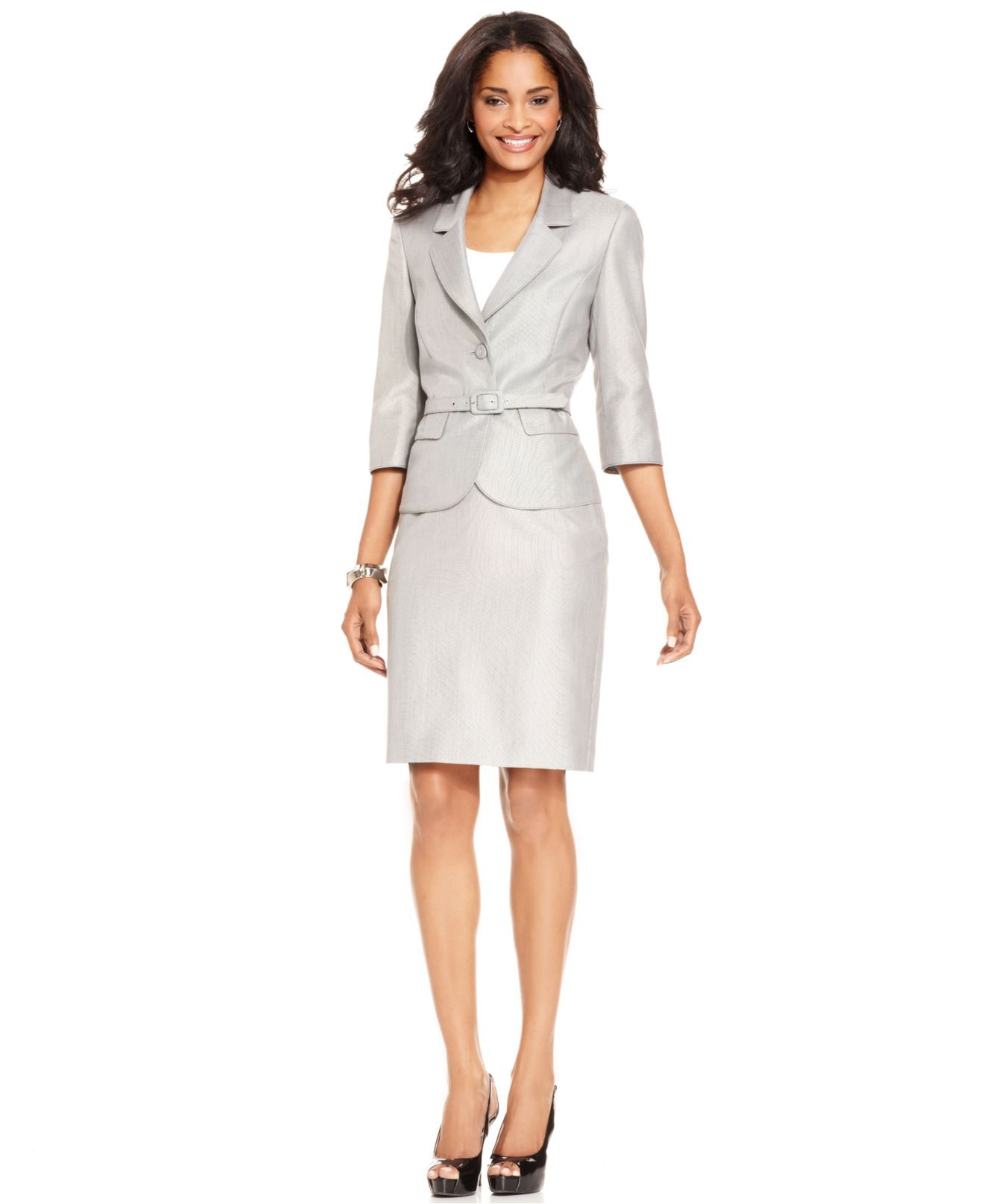 Nine West Suit Three Quarter Sleeve Belted Jacket Pencil Skirt
