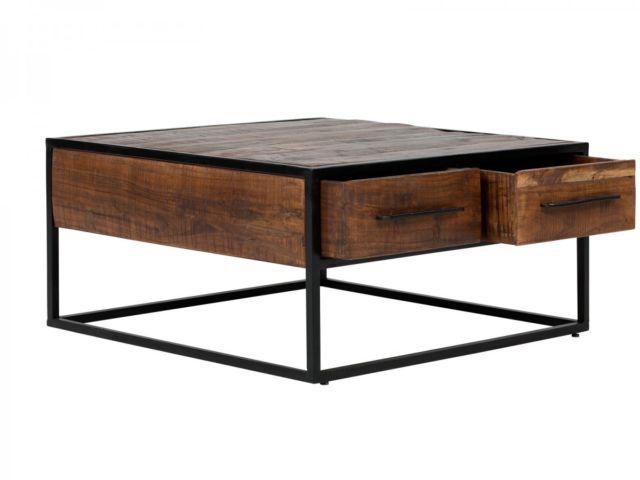 Wohnzimmertisch dunkelbraun ~ Couchtisch 80x80 tisch massiv holz rustikal akazie metall möbel