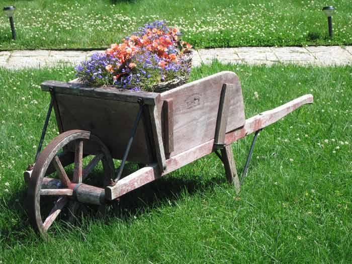 Antique Wheelbarrow Wooden Flowers Wheelbarrow Rustic Gardens