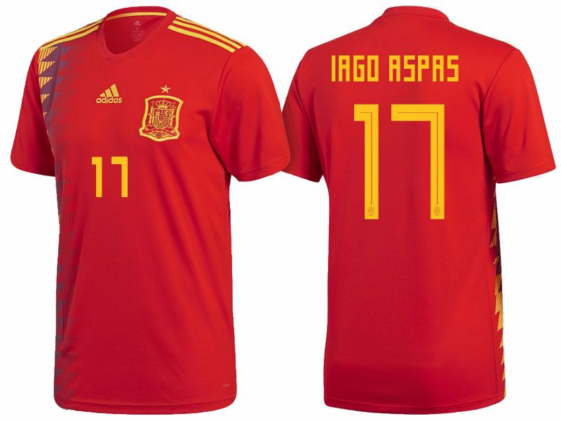 a3db845a642 Spain 2018 World Cup Home Jersey Shirt iago aspas