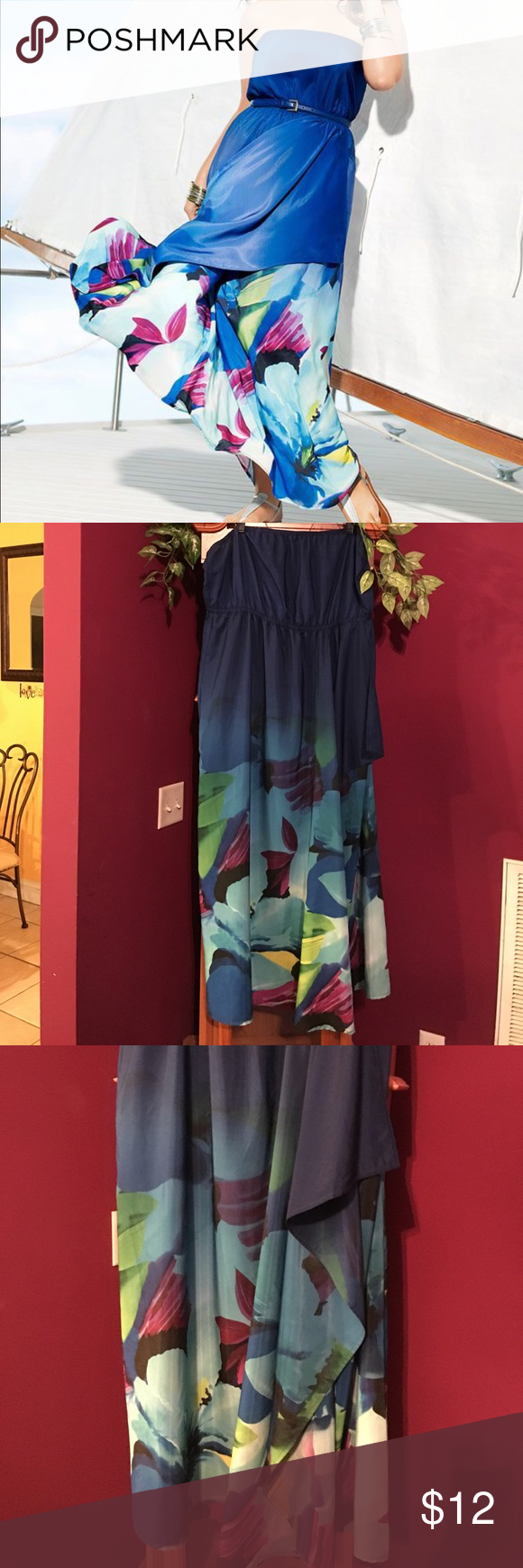 Lane Bryant blue floral layered sundress Preowned- Great condition- Reposh- size 18/20 Lane Bryant Dresses Maxi