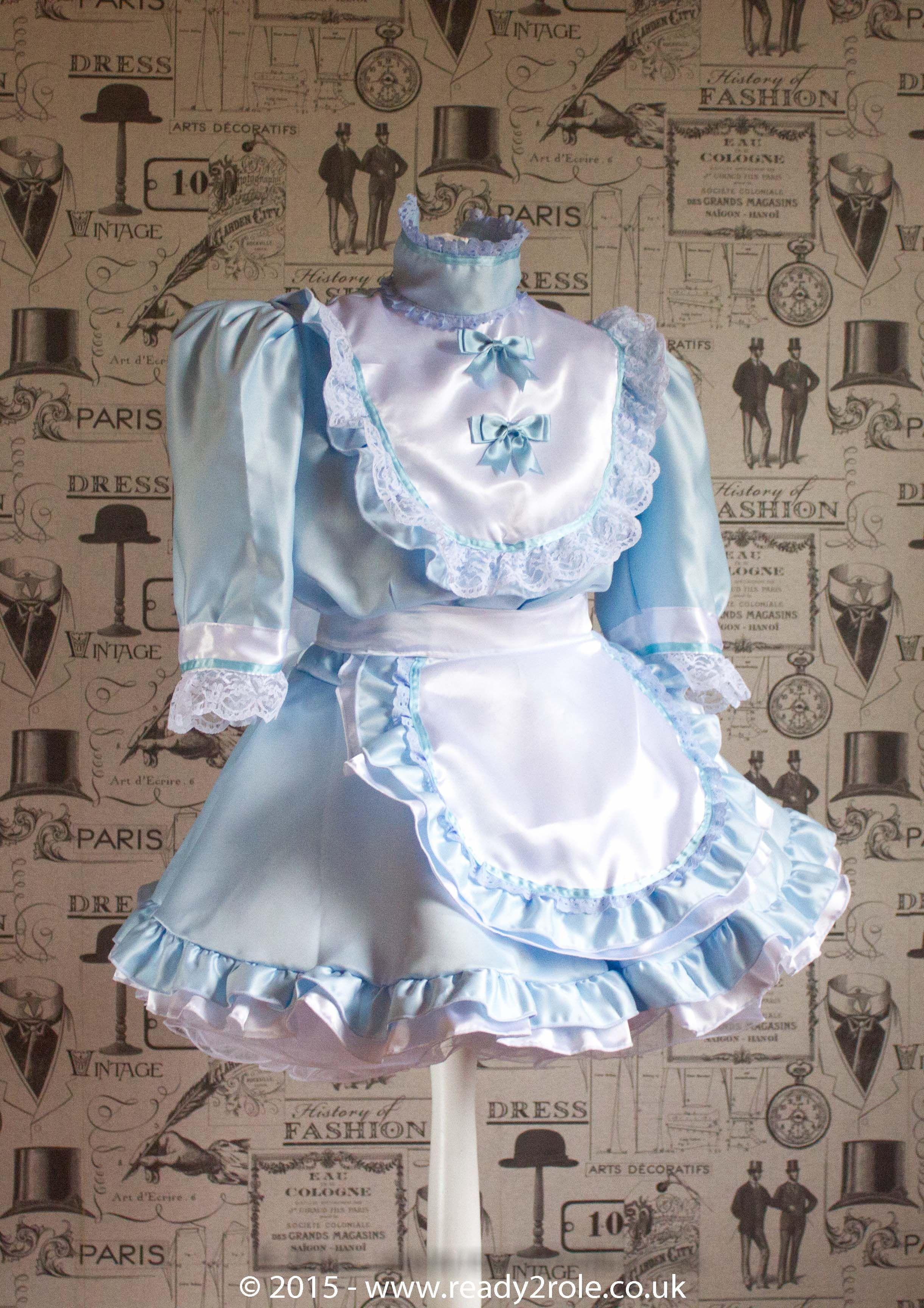 Frilly Sissy Tumblr inside hi neck frilly sissy dress in blue duchess satin www.ready2role.co