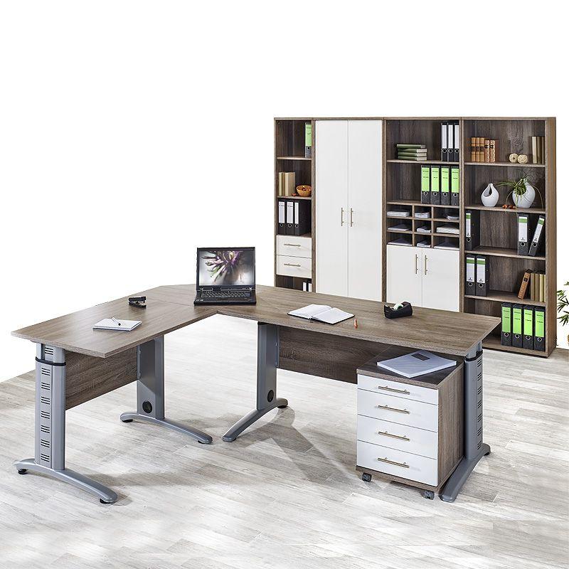 e-combuy Angebote Büromöbel Set »SERIE 1200« Trüffel Eiche - weiß ...