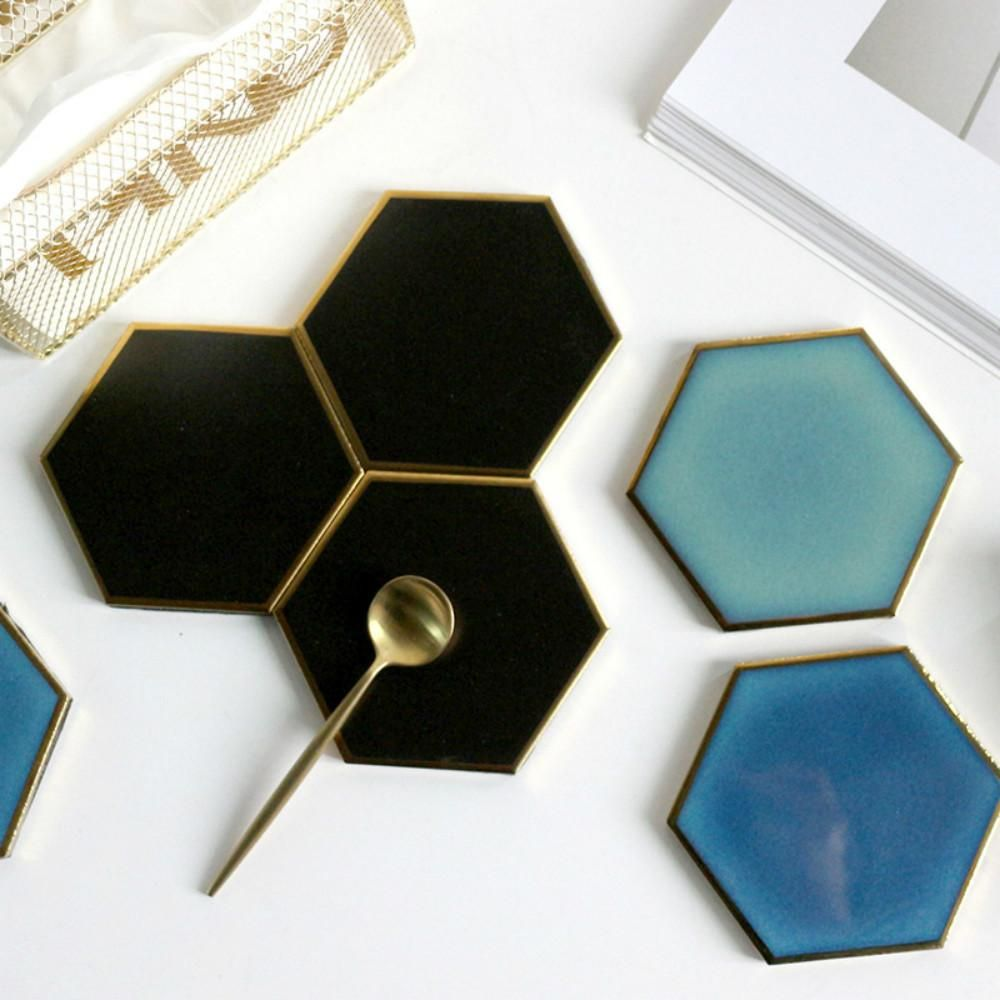 Are You Looking For Unique Table Top Decor How About These Unique And Classy Marble Grain Black Gold Ceramic Ceramic Coasters Marble Coasters Modern Coasters
