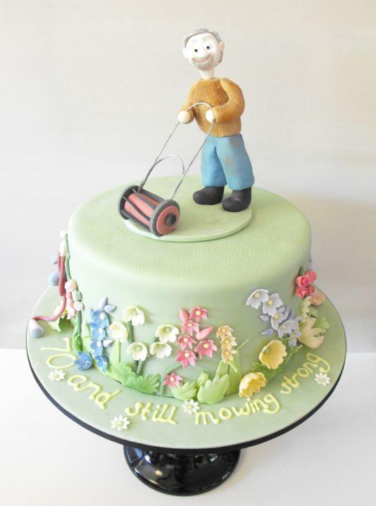 70th birthday cake - gardener with his lawnmower.