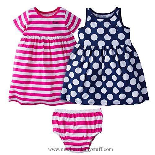 Baby Girl Clothes Gerber Baby Toddler Girls' 3 Piece Dress Set, Pink Stripe/Navy Polka Dot, 3T