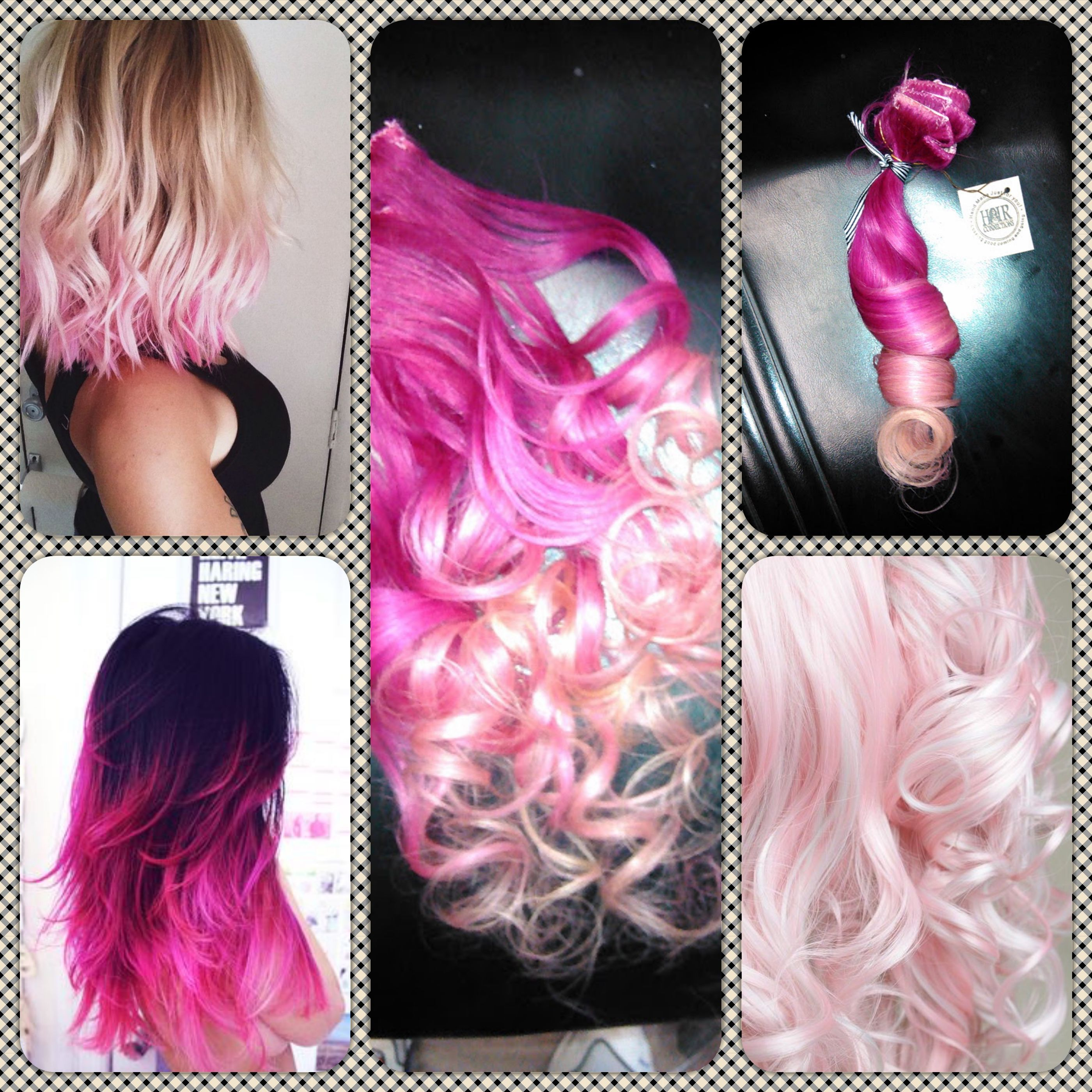 Popping Pink To Cotton Candy Ombre Hair Extensions 109hcstudio