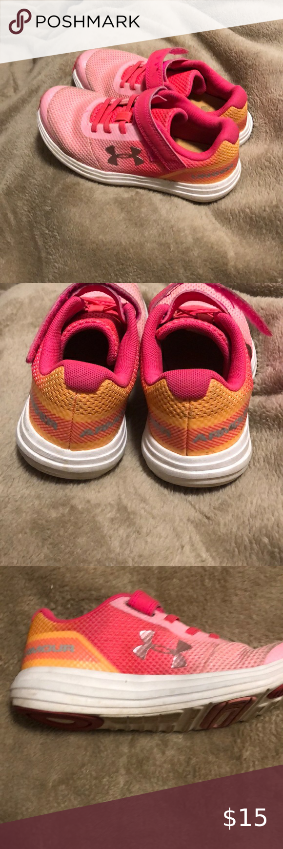 Girls under Armour pink tennis shoes