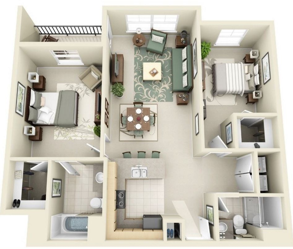 Plano en 3d planos de casas modernas deptos prof patty for Departamentos en planos