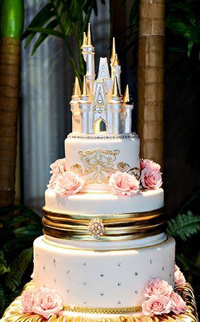Spectacular Pink Gold Disney Wedding Cake Ever After