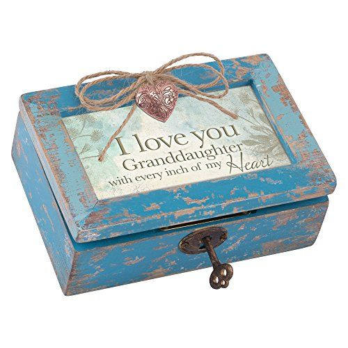 Granddaughter Jewelry Box Fair Love You Granddaughter My Heart Teal Wood Locket Jewelry Music Box