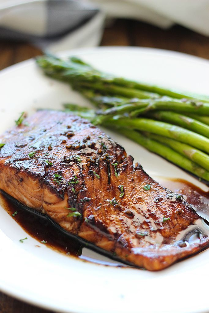 Balsamic Glazed Salmon Fillets with The Olive Mill Traditional Balsamic.