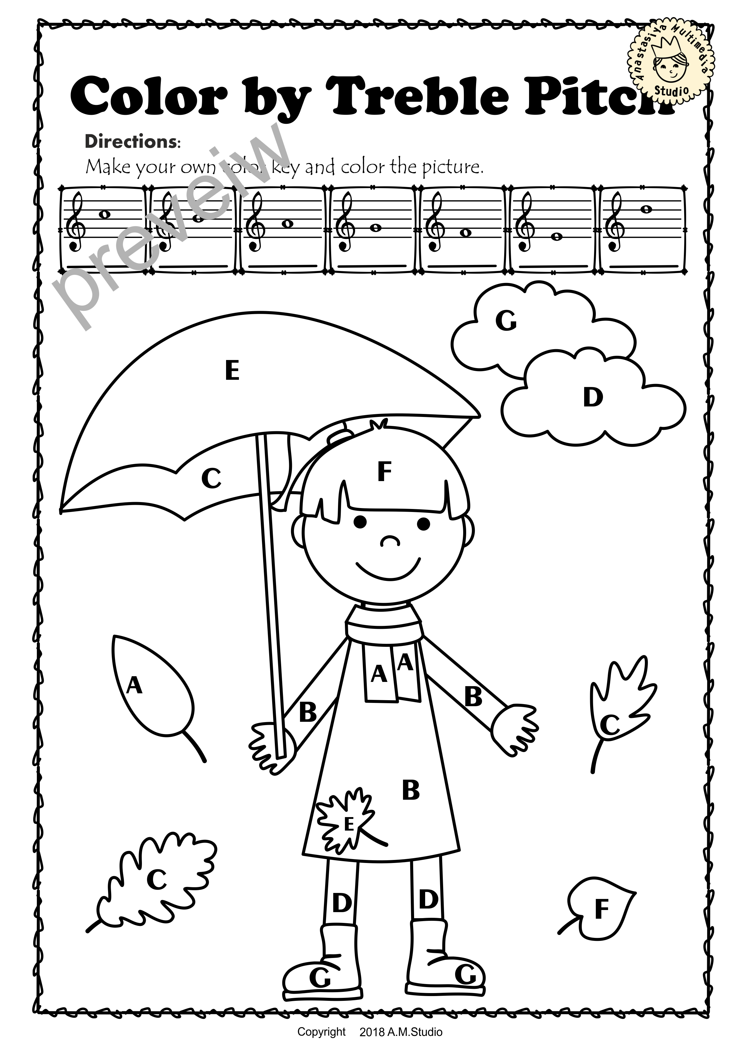 This Set Of 10 Music Worksheets Fall Autumn Themed Is Designed To Help Your Students Practice Identifying Treble Pitch Music Worksheets Music Math Kids Writing [ 3503 x 2495 Pixel ]