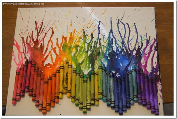 Melting Crayons To Form Artwork