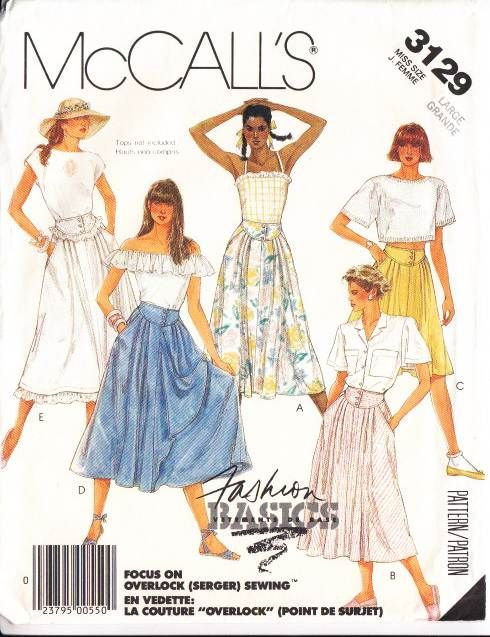 McCalls 3129, Sewing, Pattern, Flared, Skirt, 80s