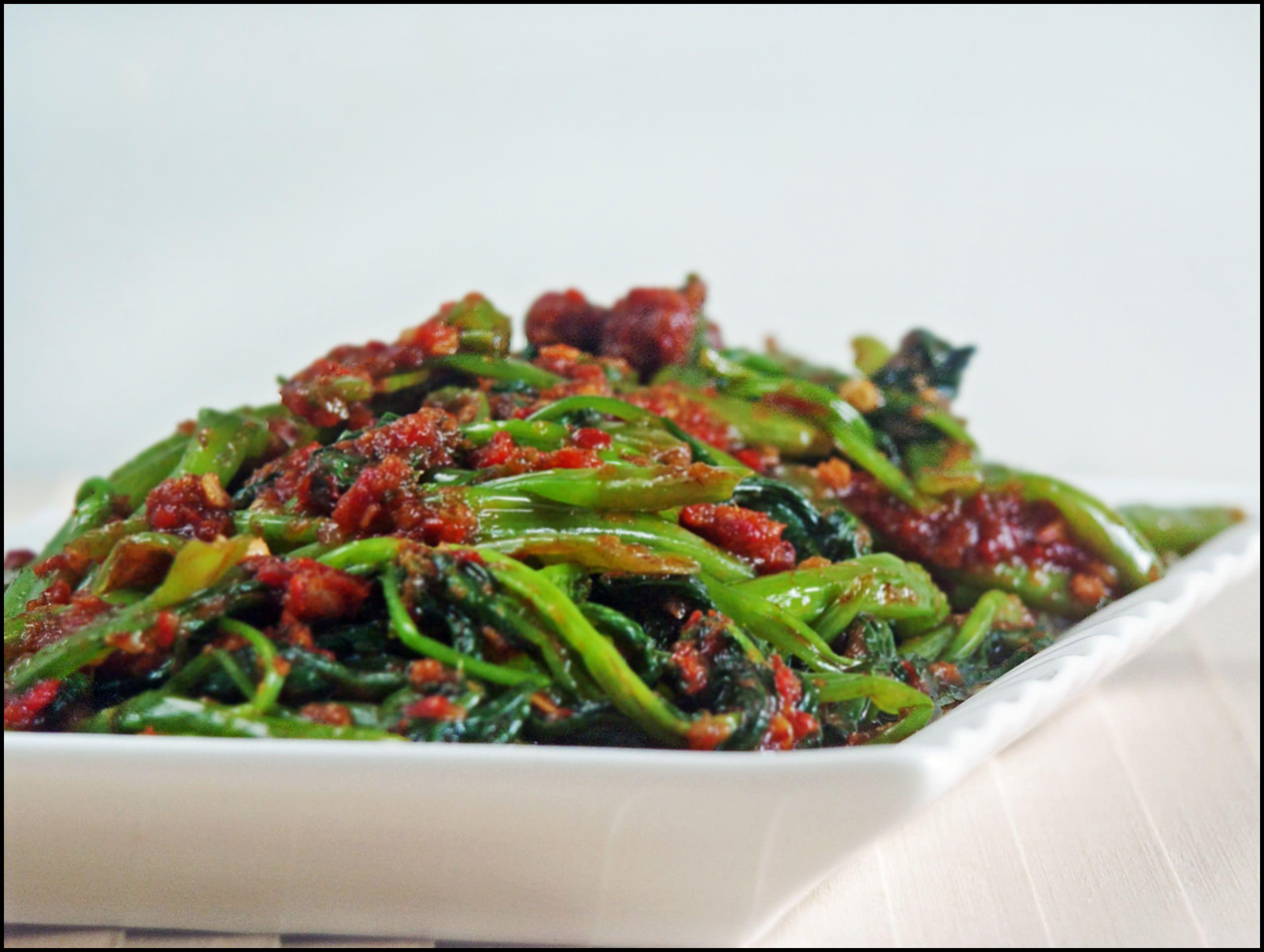 Sambal Kangkong Water Spinach In Chilli Paste Recipe Sambal Water Spinach Lunch Recipes Healthy