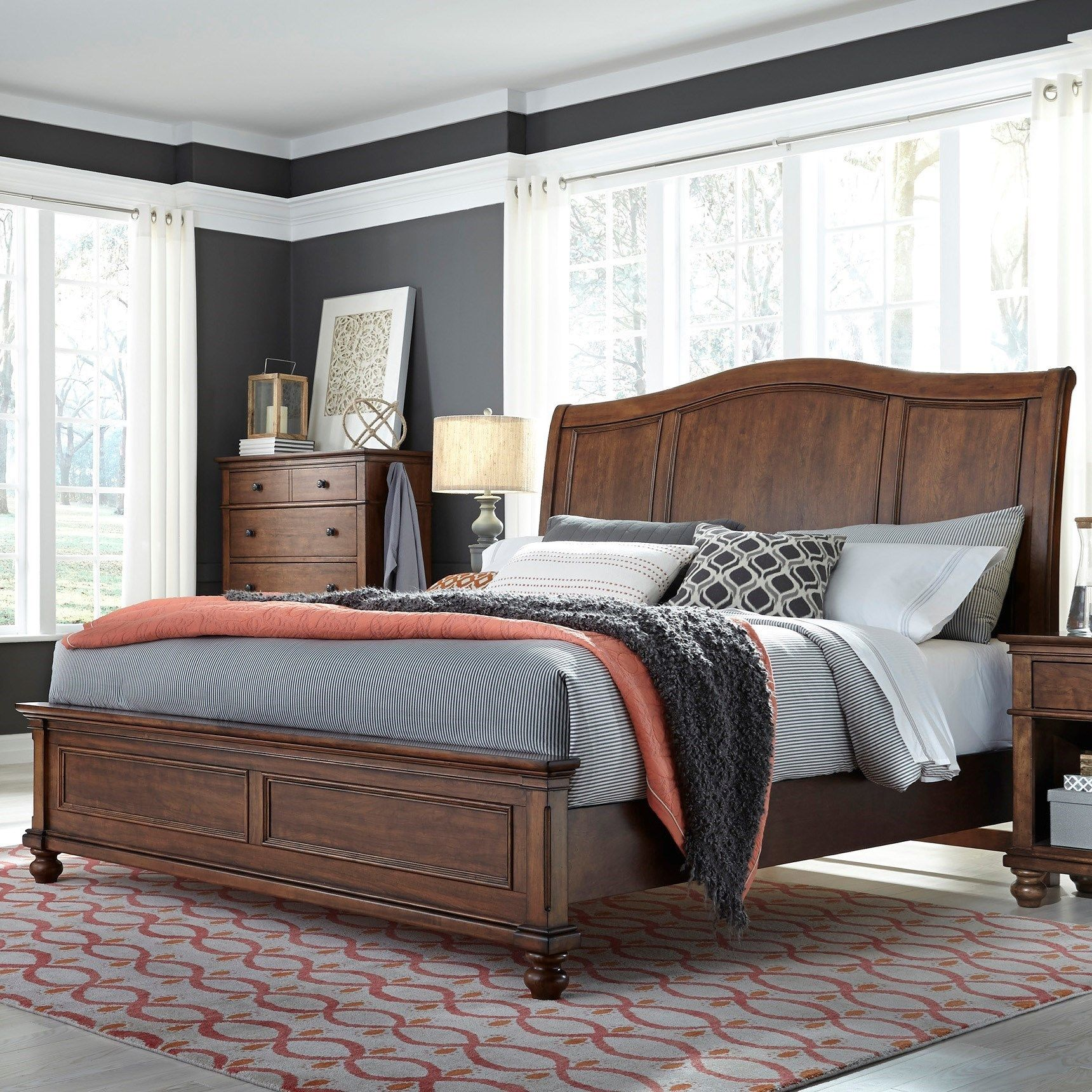 Oakford Transitional Queen Sleigh Bed with USB Ports by Aspenhome ...