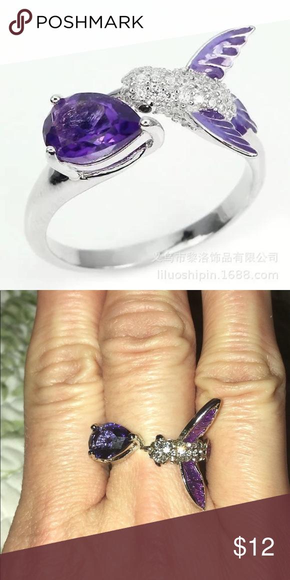 Size 8 Purple Amethyst CZ Wedding Ring Black Rhodium Plated Women/'s Jewelry