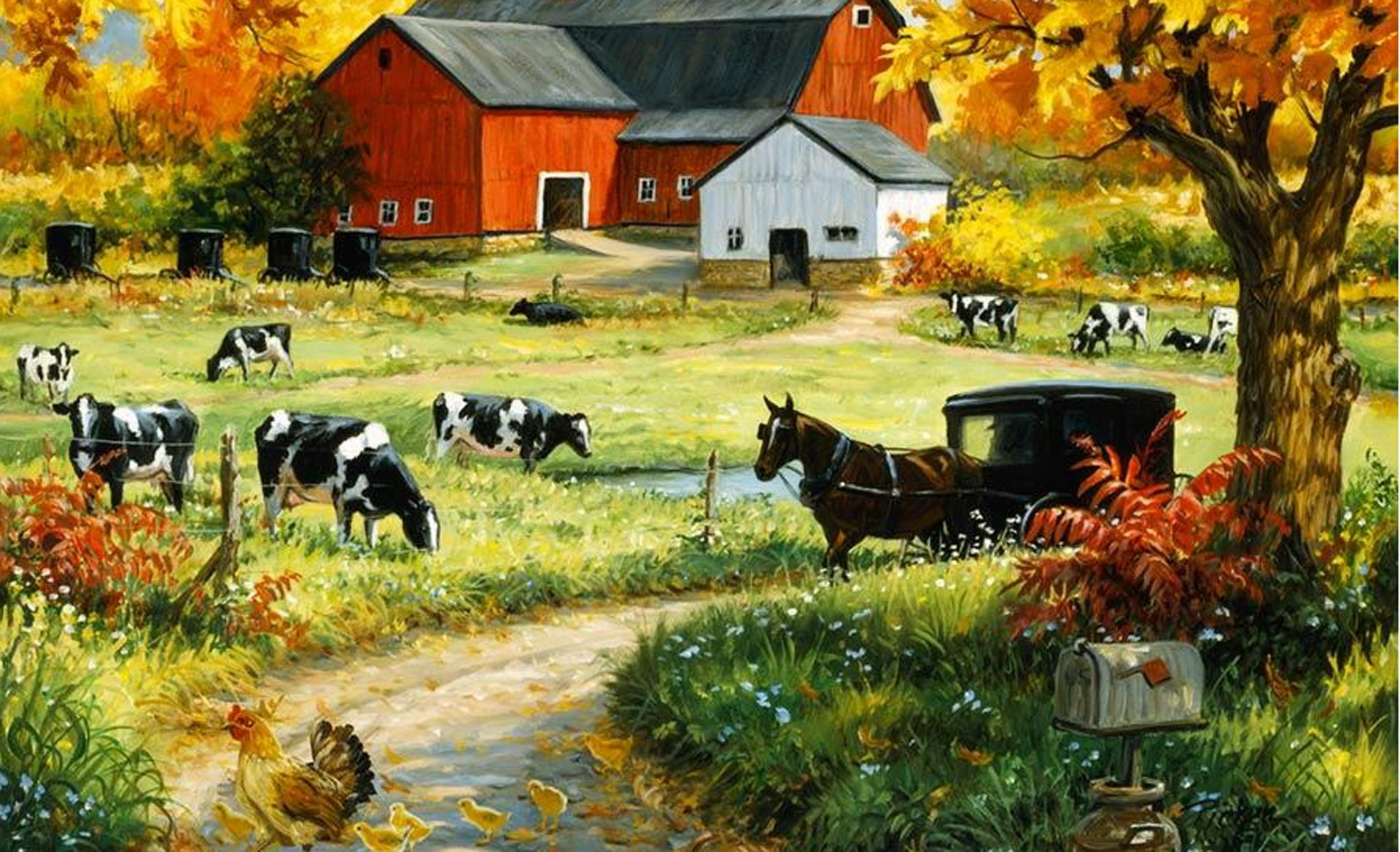 murals for walls Red Barn wall mural Wallpaper Murals