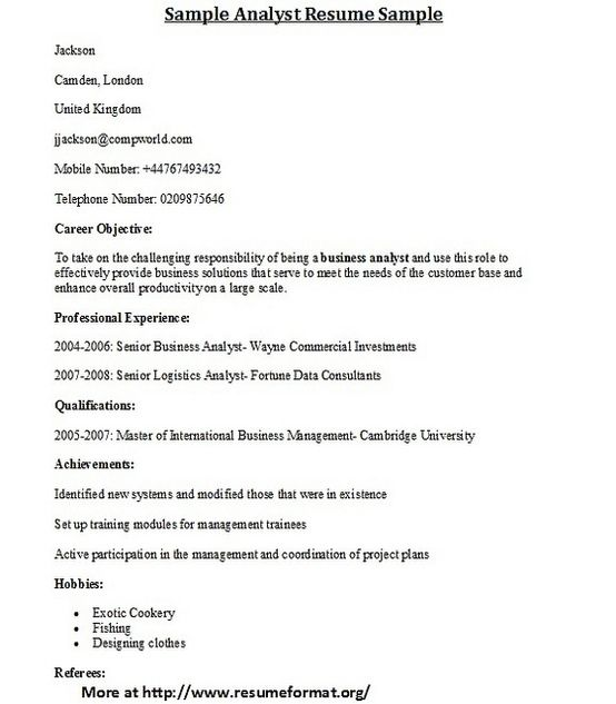 Business Analyst  Resume Sample  Work    Business Analyst