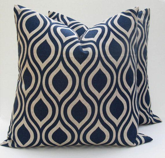 Throw Pillow Set of Two Covers Blue Pillow Blue Tan Pillow 20 x