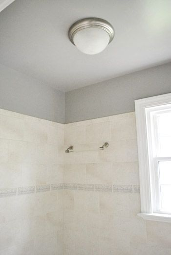 in a bathroom, paint the ceiling same as walls (or 1 tint ...
