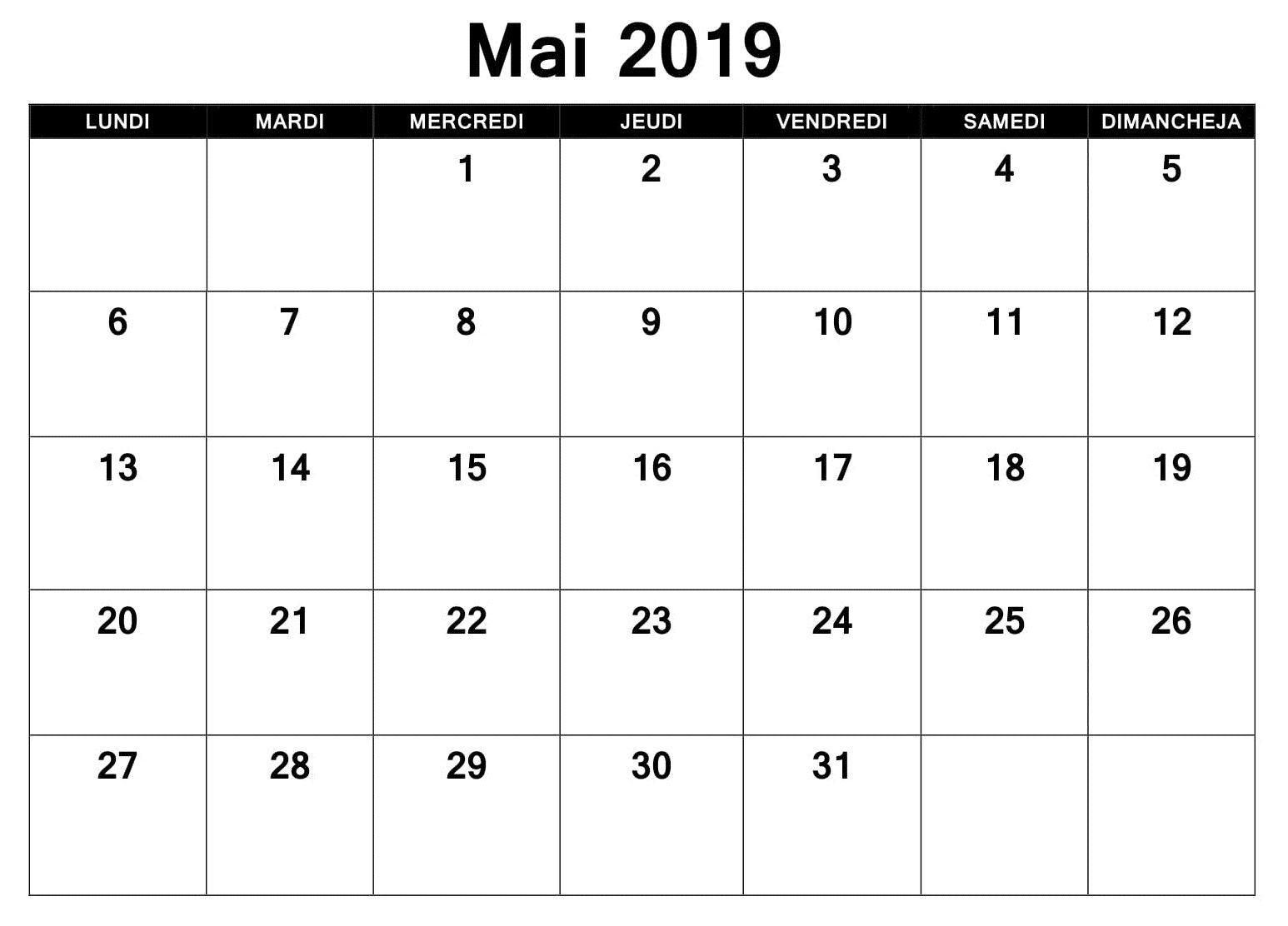 Template Calendrier 2019.Mai Calendrier 2019 Excel Excel Calendar Template