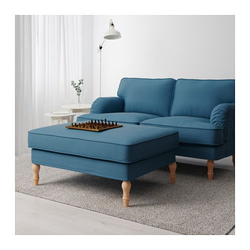 Stocksund Tallmyra Blue Footstool Order Today Ikea Brown And Blue Living Room Affordable Furniture Furniture