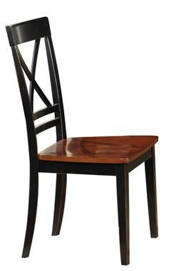 2 Cosmo Transitional Cherry Black Rubberwood Dining Chairs
