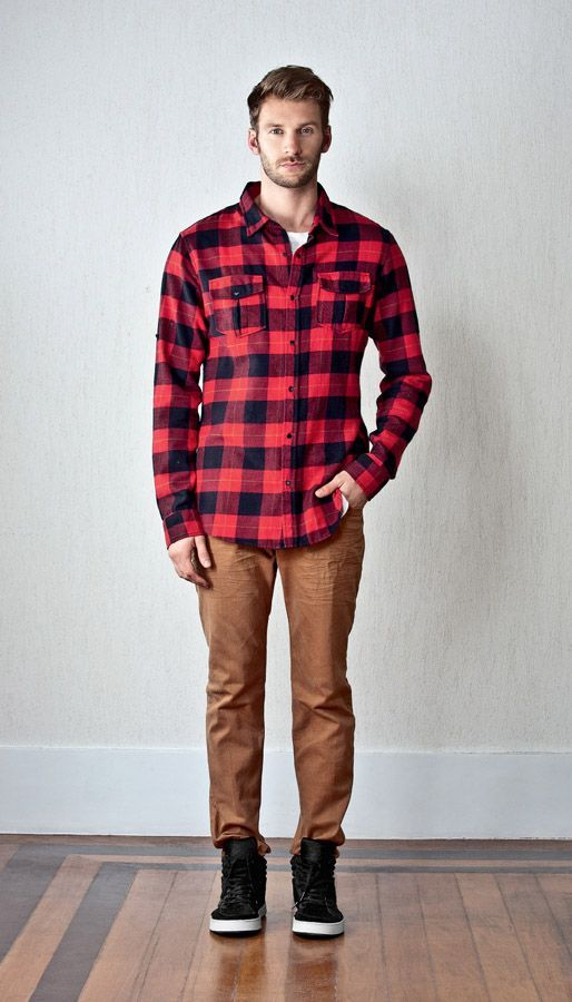 Red flannel w brown cargo jeans men 39 s fashion for Flannel shirt and jeans