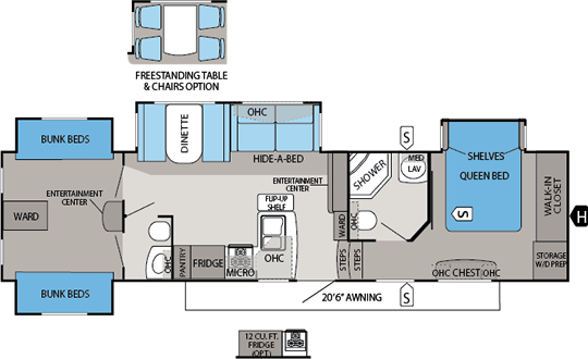Jayco Eagle Premier 365bhs Floorplan Rv Floor Plans Jayco Tiny