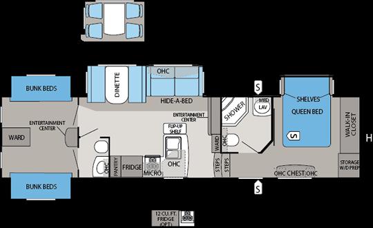 Jayco eagle premier 365bhs floorplan fifthwheel shopping for Small bunkhouse floor plans
