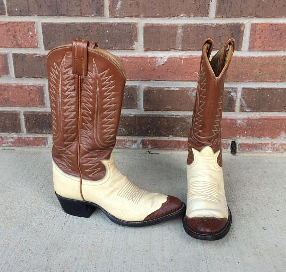 315b20b5c0f vtg 70s TONY LAMA two tone Cowboy BOOTS 6 western brown, cream ...