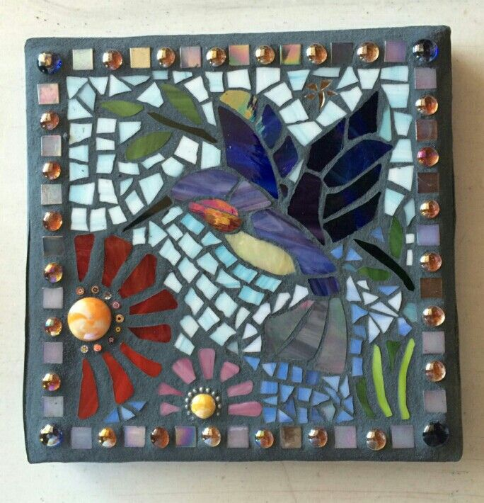 Lily S Blue Hummingbird Stepping Stone 12x12 Mosaic Art Mosaic Crafts Mosaic Animals