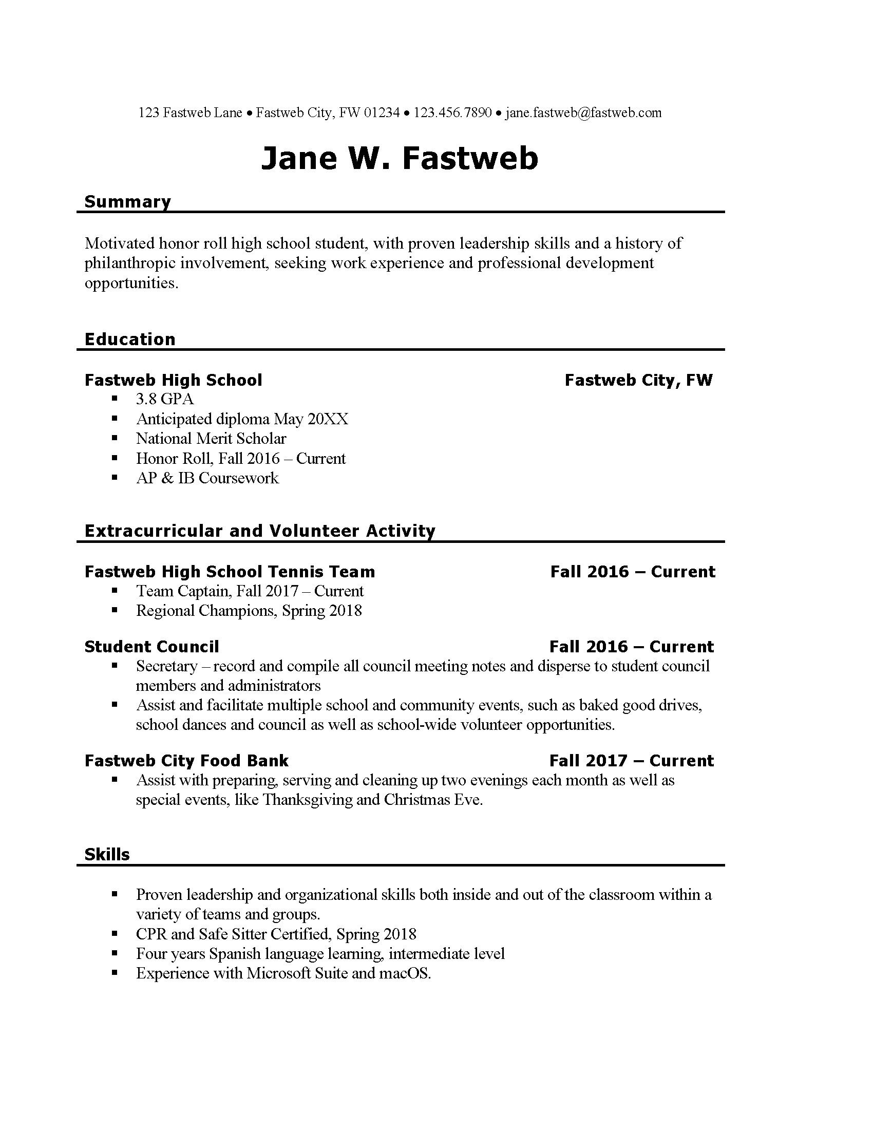 Good Resume For First Job