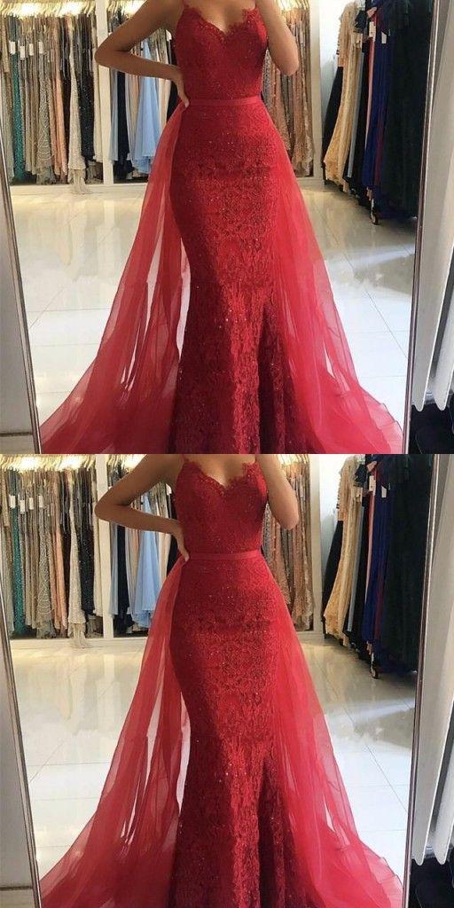 Elegante Abendkleider Rot Lang Günstig Spitze Abendmoden ...