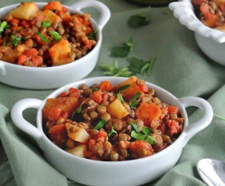 Recette lentilles aux légumes ww – un plat à 2 SP par personne.