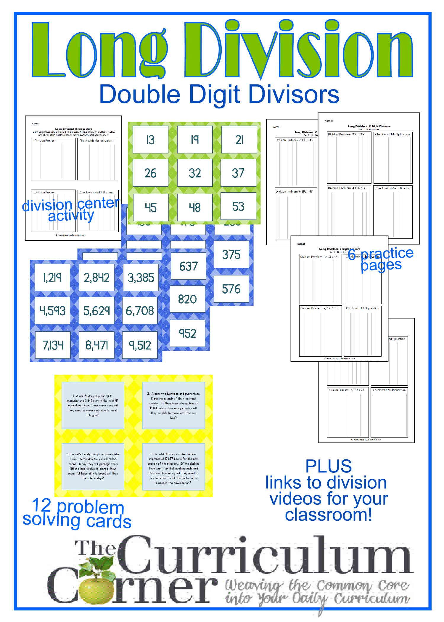 Long Division Resources 2 Digit Divisor